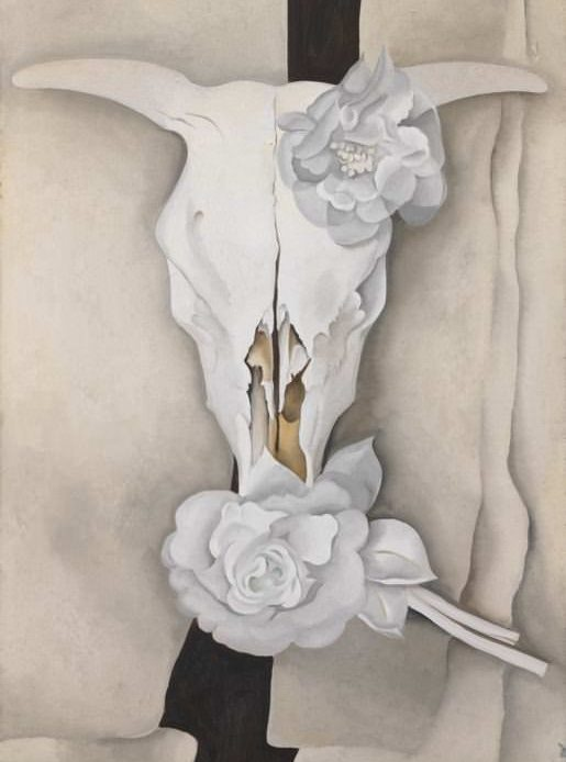Calico rose in a cow skull by Georgia O'Keeffe — floral inspiration