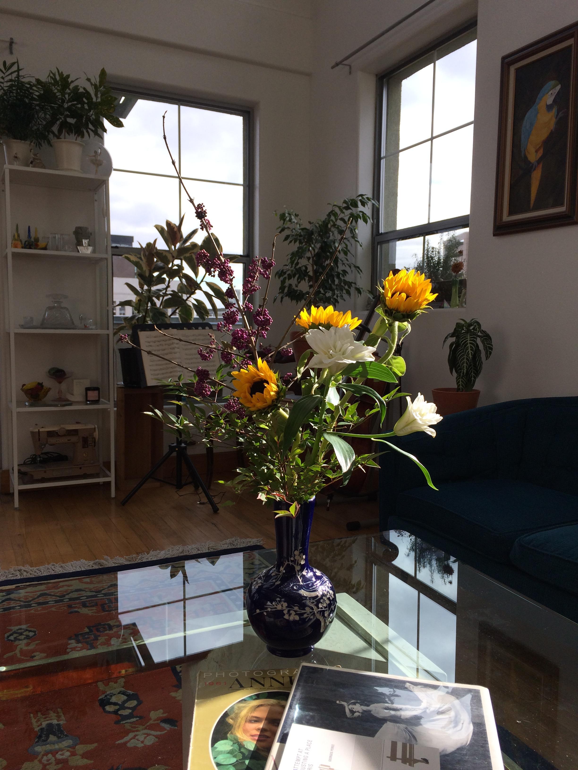 A vase of birthday flowers