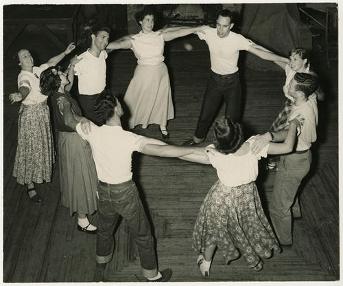 A dance circle, 1950, via the Center for Jewish History archives