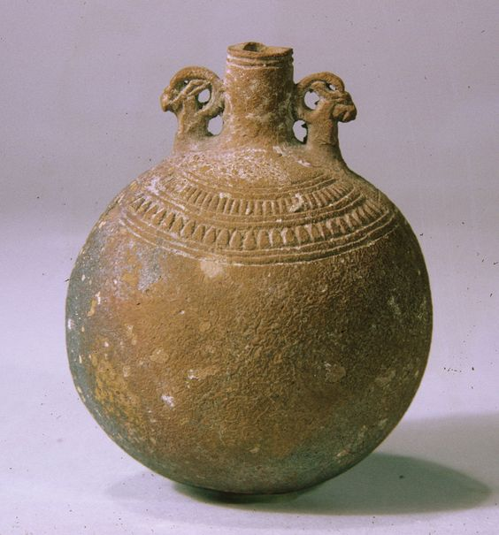 Lentoid Bottle ('New Year's Bottle'), Late Period, Dynasty 26, 664–525 B.C., From Egypt, Faience.