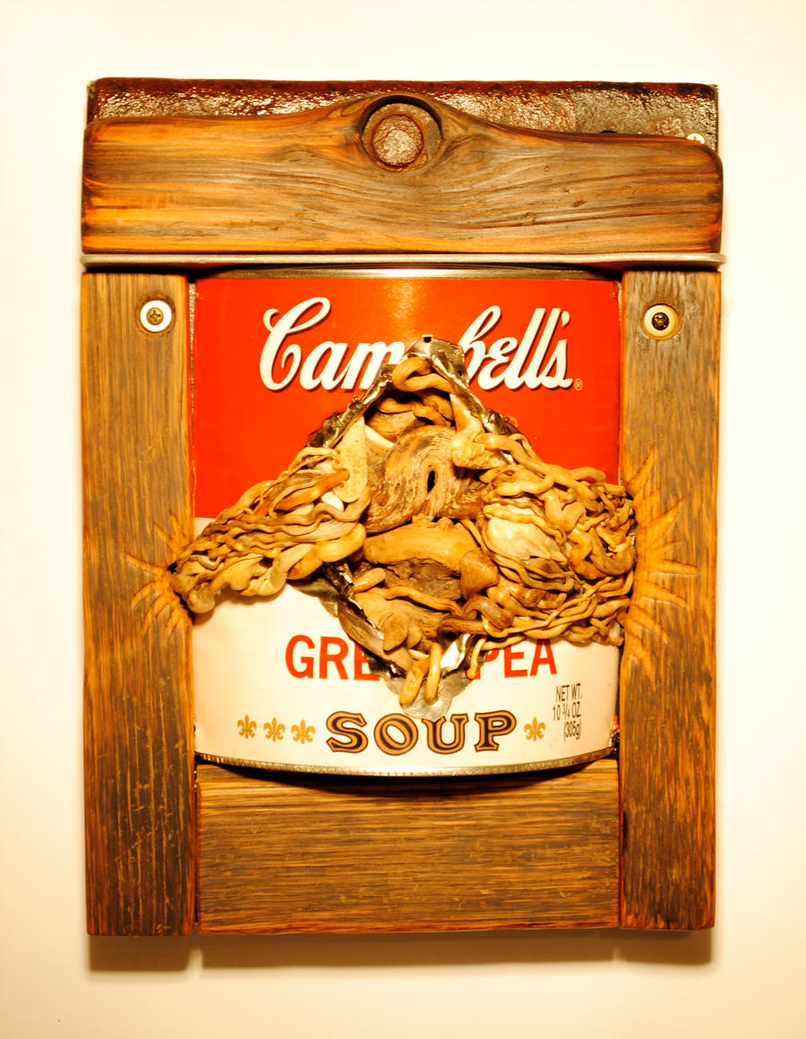 """Fuck Andy Warhol, Seriously, Not Kidding... I hate Him 8"""" x 11"""" Wood, Metal, Found Objects"""