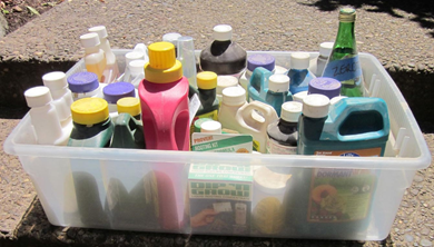 Keeping the chemicals in a leak-proof container