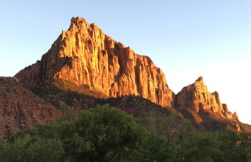 The Watchman at sunset, viewed from in town
