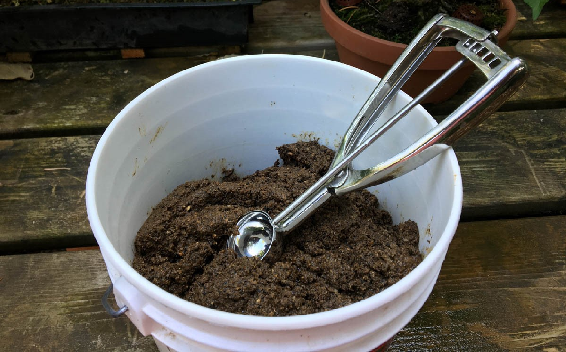 Bucket of homemade Poo ready for placement.