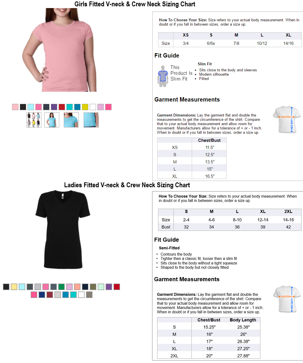 This is the t-shirt size chart. T-shirts come in adult and youth sizes.