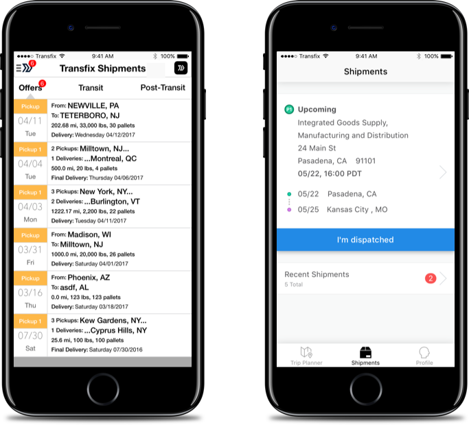 Old vs New - A key aspect of the redesign considered the driver's context and job to be done. We now focus the mobile experience to the driver's current shipment and the upcoming destination by using a tab bar and sharing key details in the default view.