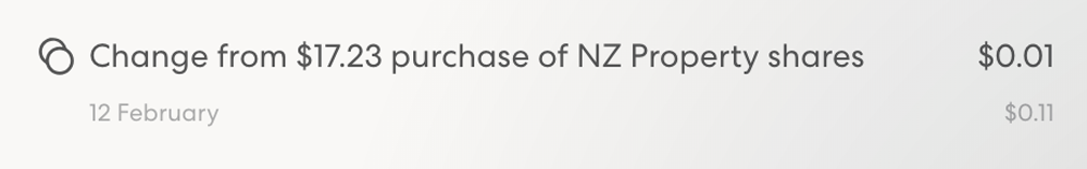 Change from purchase of NZ Property shares