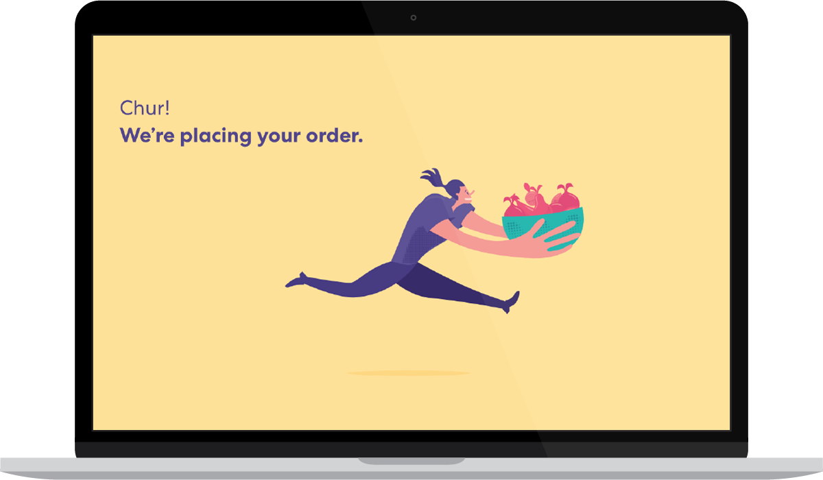 The screen that pops up for a few seconds once she has hit the place my order button. What's with the bowl of fruit Sharesies?
