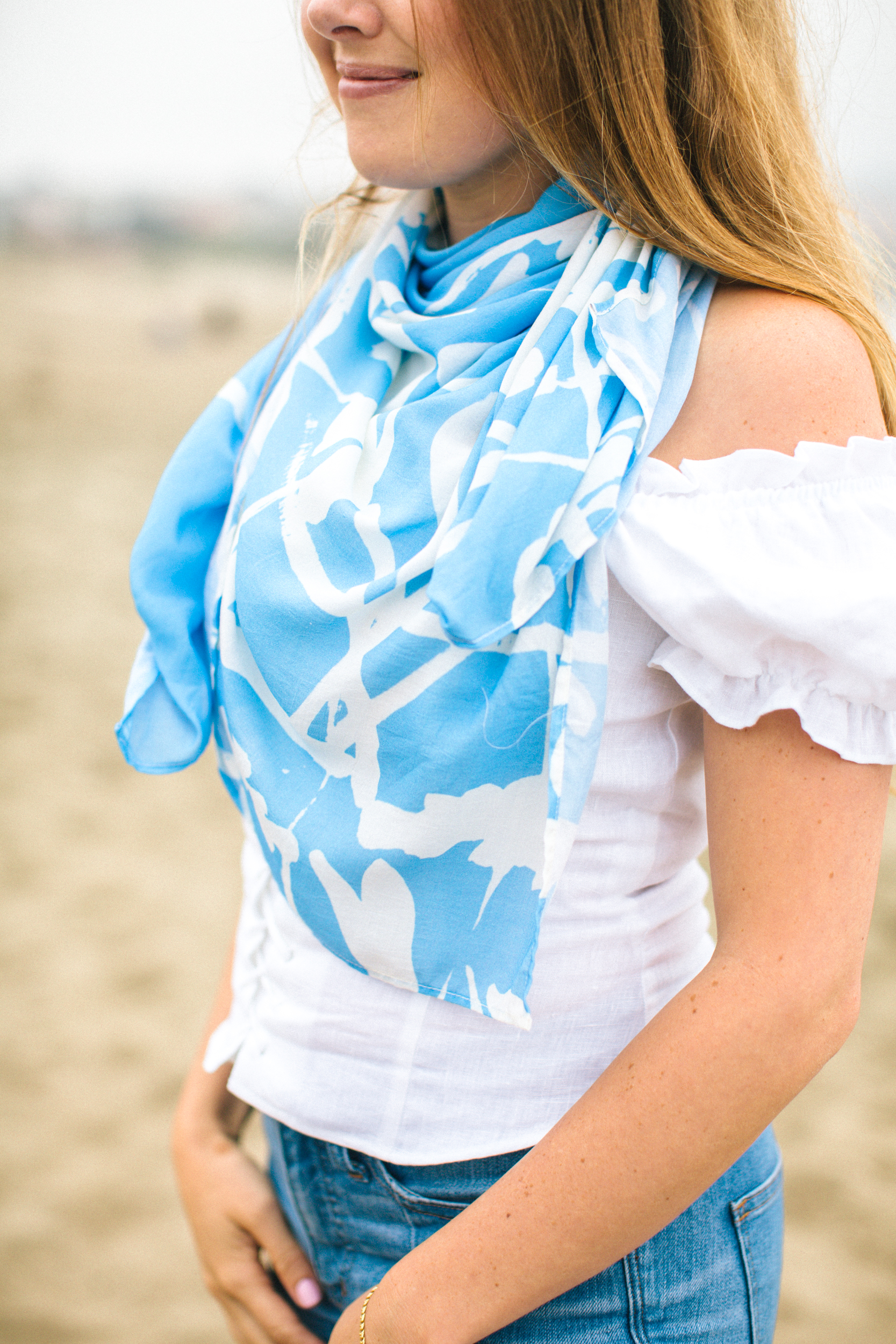San Francisco Baker Beach Lifestyle Photoshoot. Showcasing colorful scarfs with Bridgette Thornton.