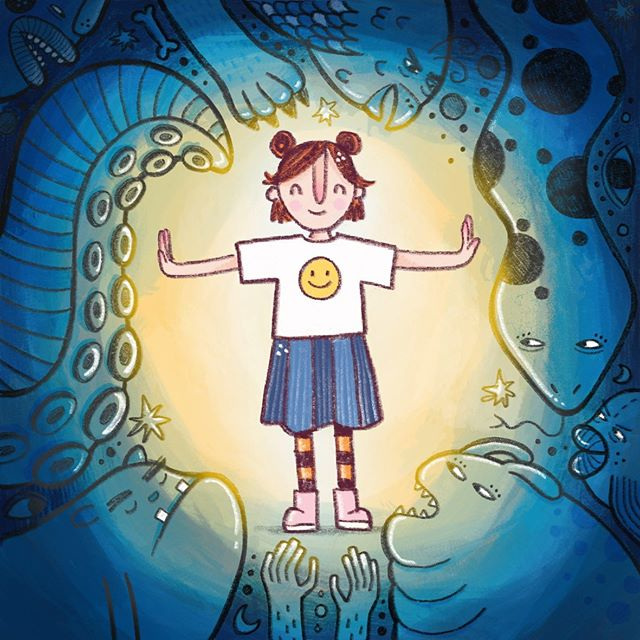 💙None but the positive and good shall enter💛  This is the illustration I contributed to the 'One Million Happy Thoughts' project. Find out more about this awesome project here http://www.onemillionhappythoughts.org.nz/ . #onemillionhappythoughts #nzillustrator #womenofillustration #mentalheathawareness