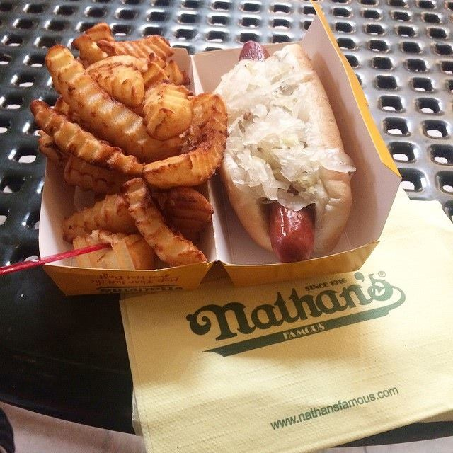 Nathan's Famous Hot Dog and Fries