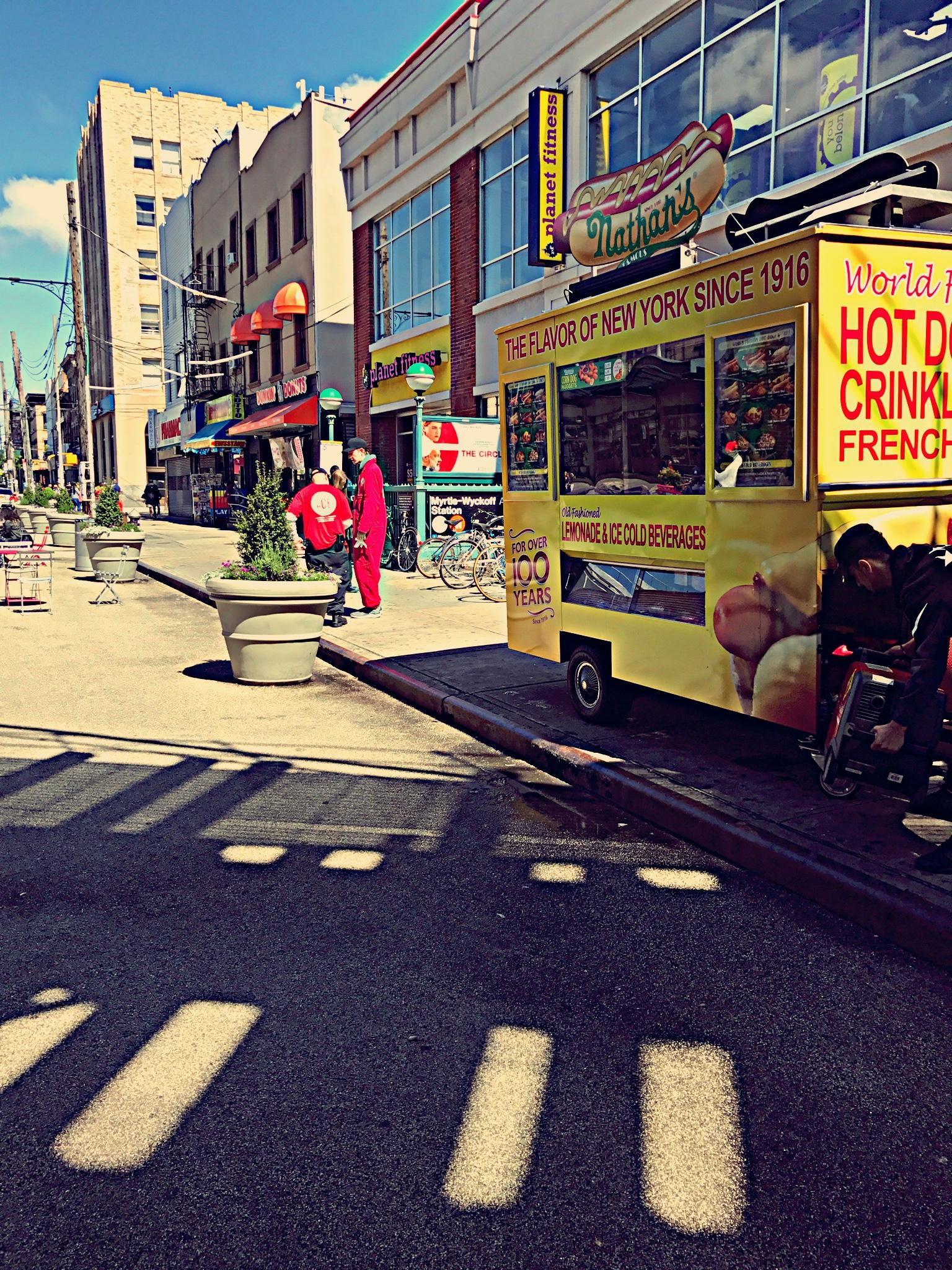 Nathan's Famous Hot Dog Cart NYC