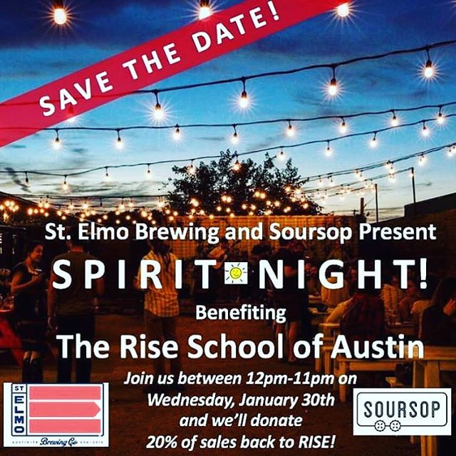 Please join us tomorrow for our @riseatx Spirit night! We will be donating 20% of our sales to support the school. In addition to our regular menu, the Soursop Kids menu will be in full effect with tots, nuggets, kids burgers , roti quesadillas, and more !