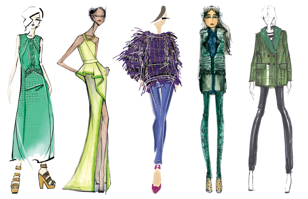 Sketches from Pantone's 2013 Fashion Color Reports.