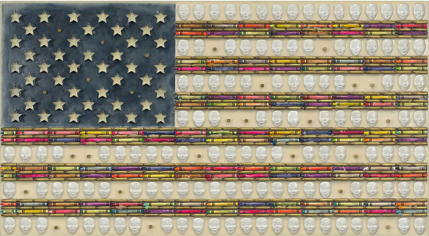 "Newtown 26, 2015, 26X48"" Ceramic faces, crayons, semi-automatic brass shells, aluminum cookie cutters, and encaustic on board."