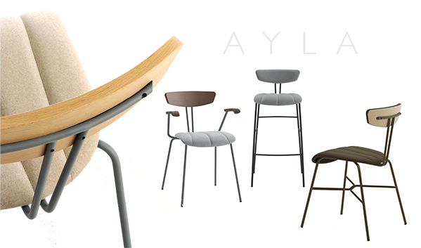 Ayla Collection     Organic...Minimalistic...With A Vintage Flavor    Ayla's sleek contour, organic shapes and minimalistic design hints of mid-century design.    Strong and durable, Ayla brings a vintage flavor to any commercial application and is perfect for cafes, restaurants and other venues.