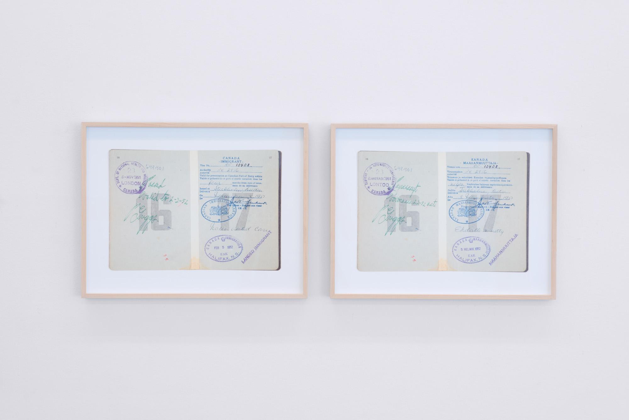 """19 digital photographs, found passport (16' x 18"""") 2016"""