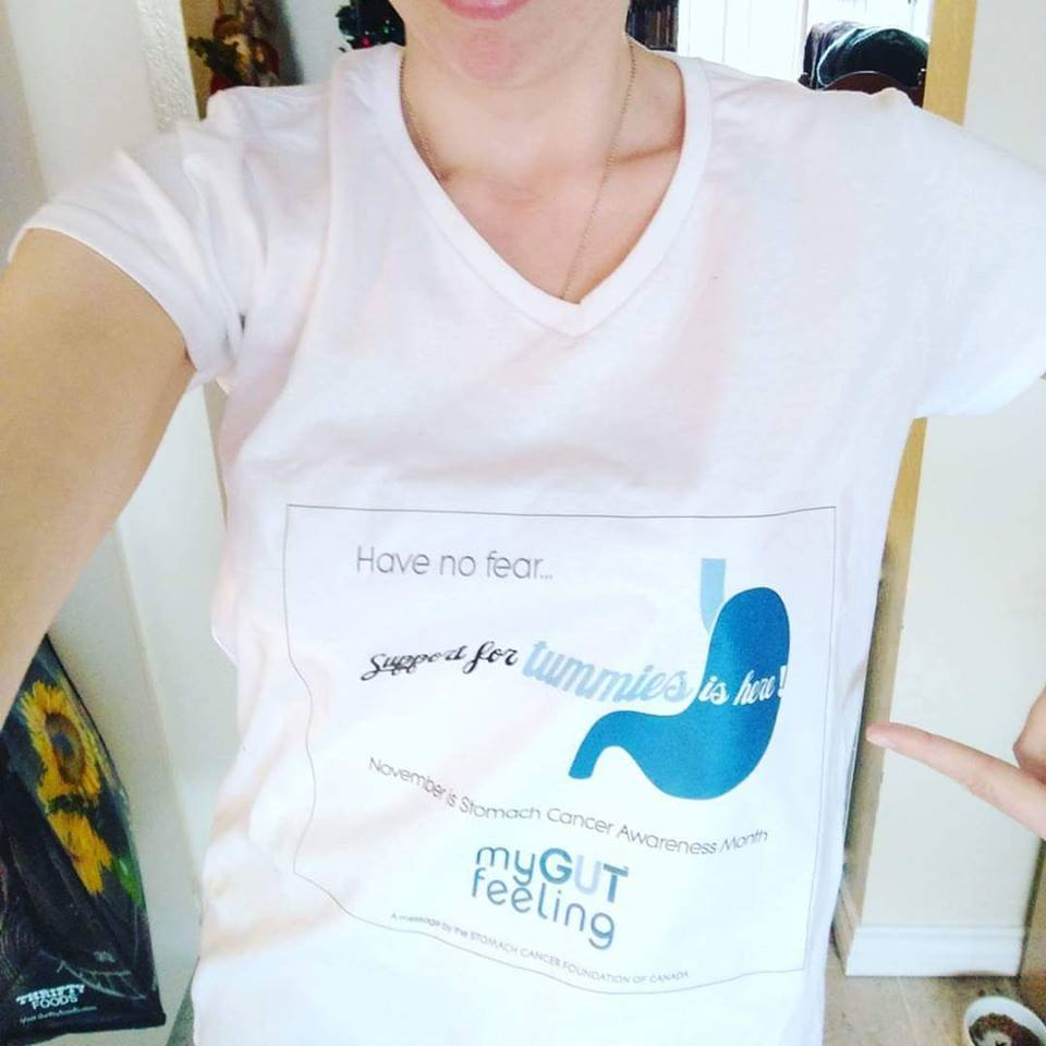 Mallory rocking a My Gut Feeling t-shirt. No matter the distance, we are a community!