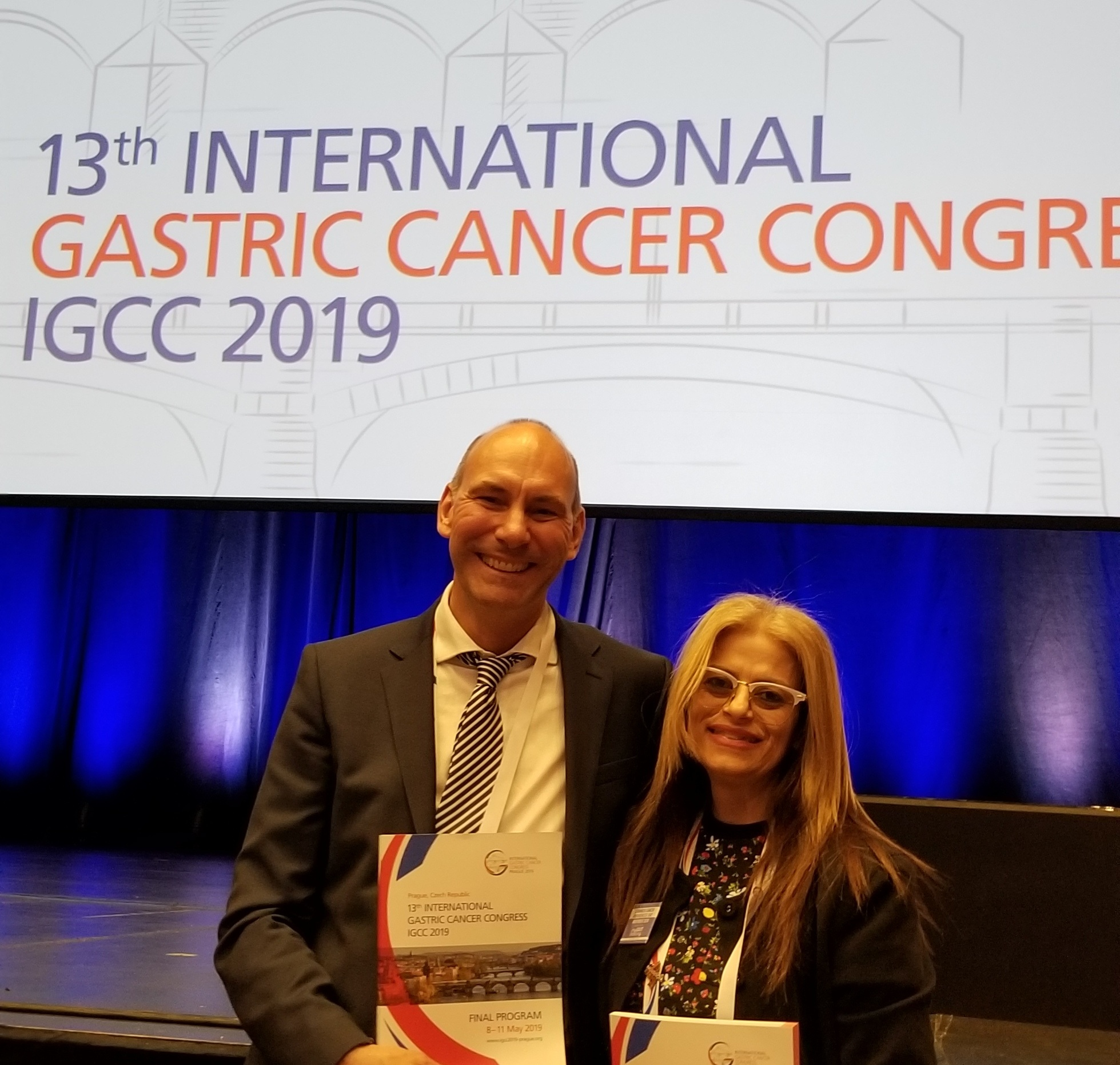 The Chair of the 13th International Gastric Cancer Congress, Dr. Florian Lordick of University Hospital Leipzig (Germany) and Teresa Tiano, Chair of My Gut Feeling
