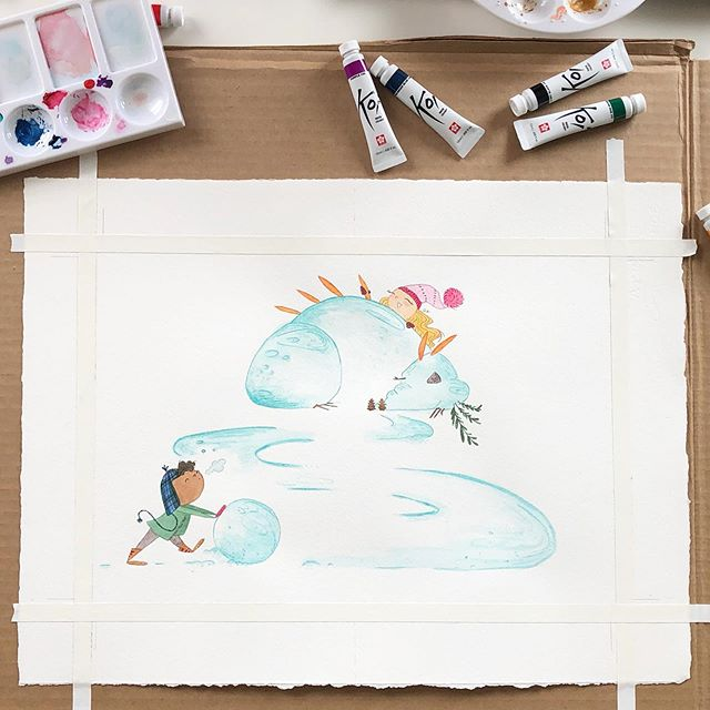 "Providence: Week Two. I think I've popped into art stores for ""one last thing"" a dozen times now. It's all starting to snowball! ☃️🐉❄️ . #childrensbookillustration #dragon #handdrawn #illo #illustration #illustratorsoninstagram #painting #picturebooks #sallyandillustration #sketch #snowday #snowdragon #watercolor #watercolour"