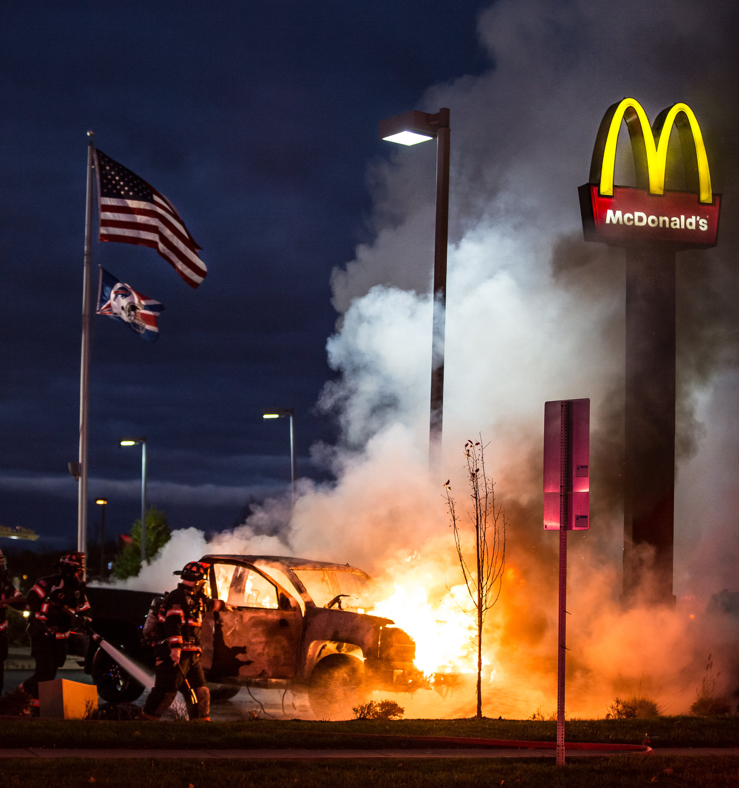 A pick-up truck spontaneously caught fire in a McDonald's parking lot on the corner of Sweet Home Rd and Sheridan Dr in Amherst, NY around 5:30pm. Emergency authorities responded within several minutes and extinguished the fire shortly after. Nov 11, 2016