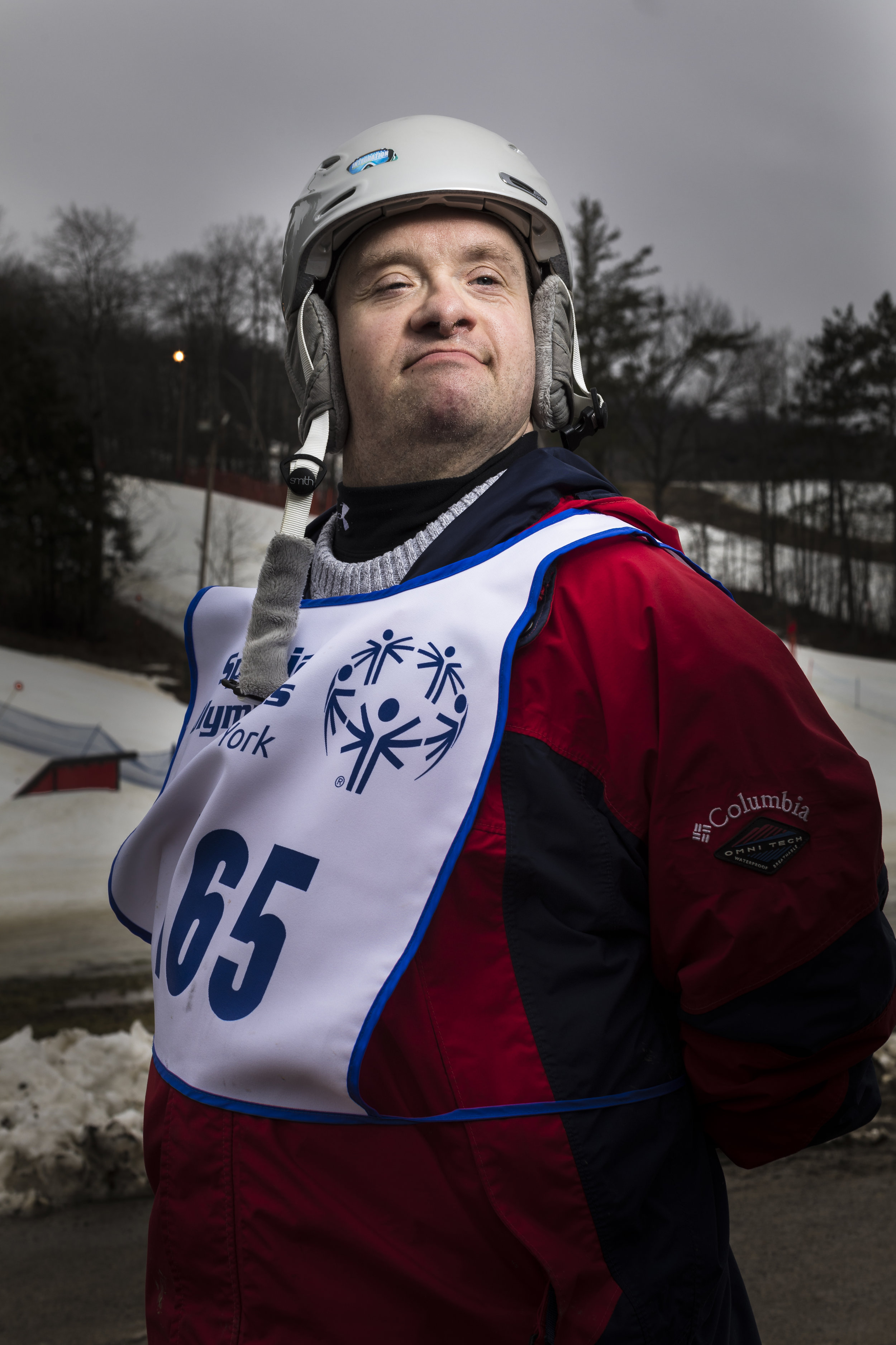 Alpine skier Daniel Volxen, from Onondaga Central Region, at the 2018 Special Olympics New York State Winter Games at Swain Resort in Swain, N.Y. Feb. 24, 2018.  L. McCullough