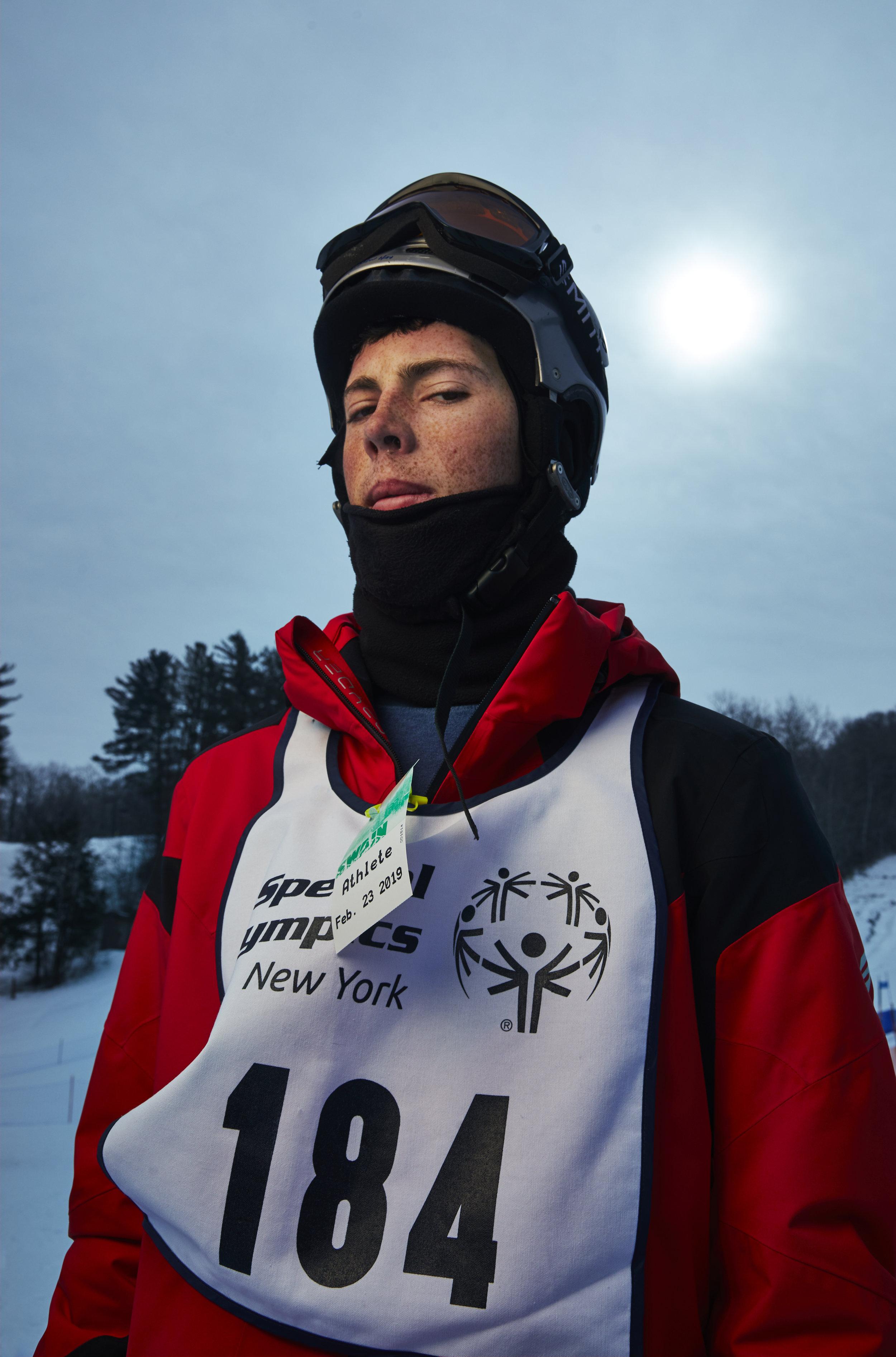 Andrew Hay of Ithaca, N.Y.  Alpine Skiing  SoNY 2019  (Photo by Mustafa Hussain)