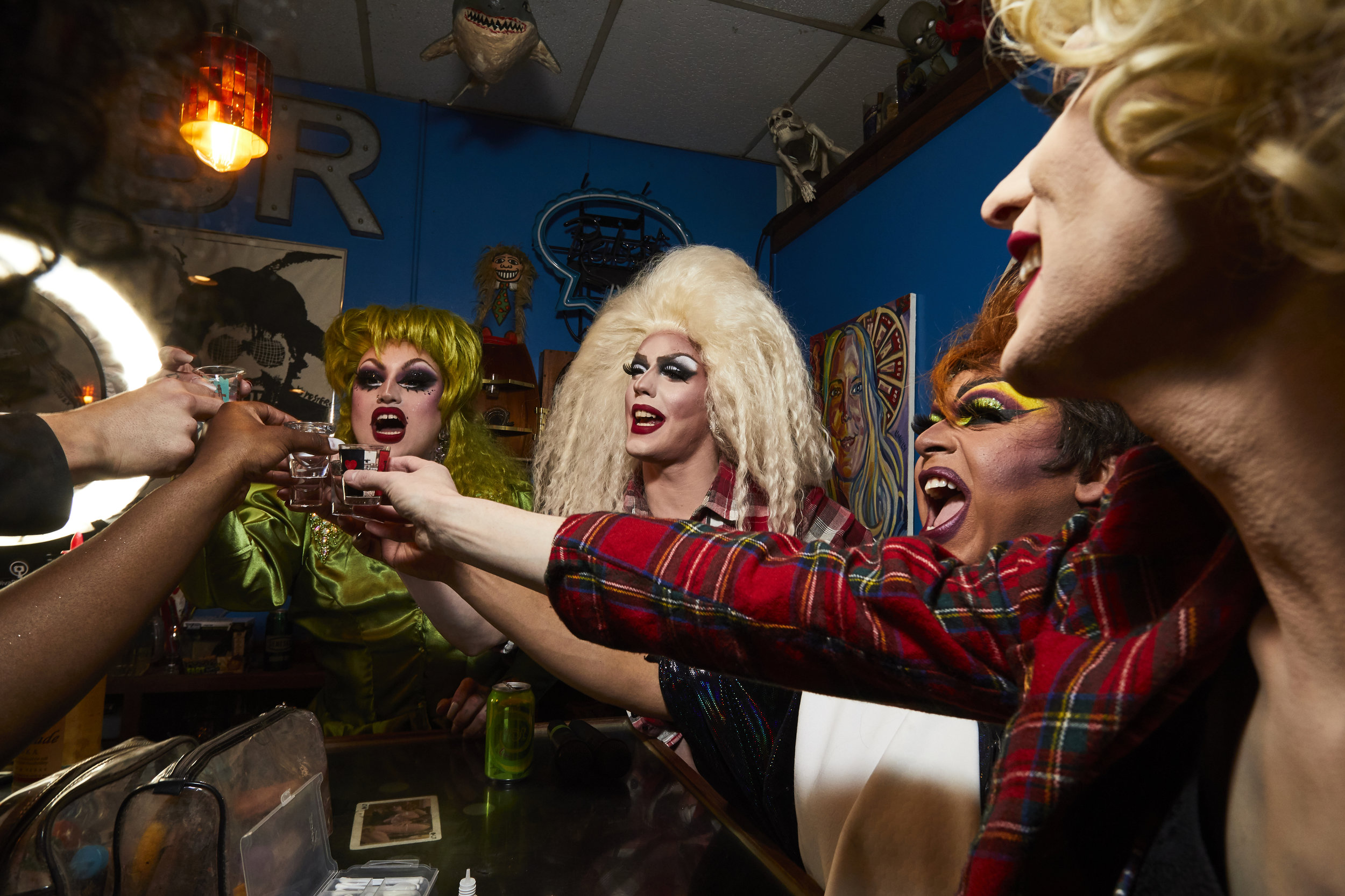 Drag queens Wednesday Westwood, Veronica Lace, Samantha Vega, and Judy Darling have a celebratory drink before performing at Lux Lounge for the two-year anniversary of What the Frock Friday.