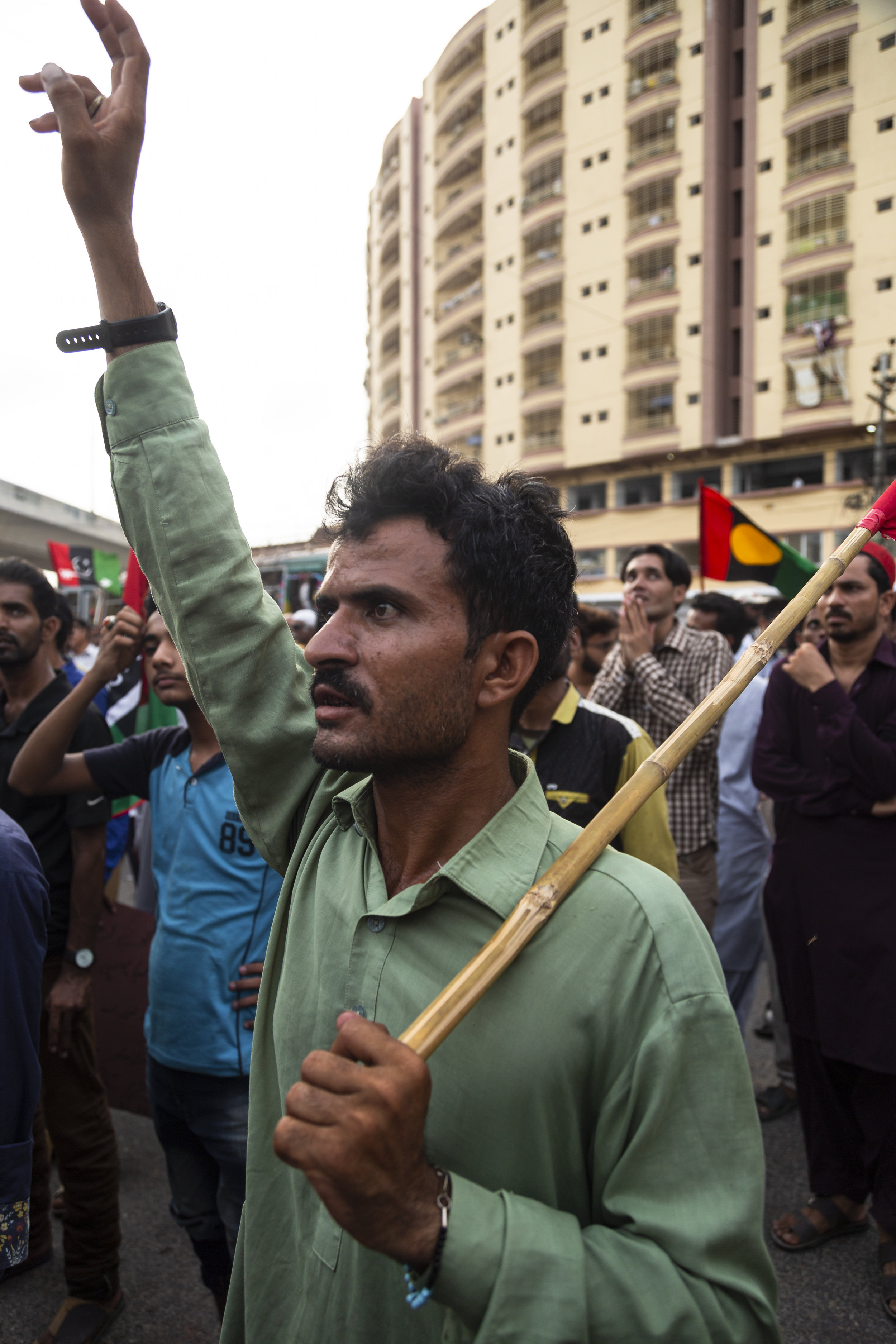 Supporters of the Pakistan Peoples Party protest the arrest of former president Asif Ali Zardari in Karachi, Pakistan on June 11, 2019. Zardari was arrested by the National Accountability Bureau on June 10 on charges of money laundering.