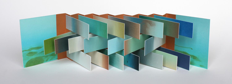 Potomac Book , 2016, silkscreen and monoprint book, approx. 4 x 4 x 14 in. (open)