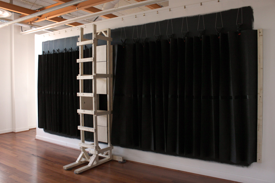 Ladder to a Door , 2013, wood, tar paper, spring clamps, string, latex paint, pencil, 192 x 108 x 36 in. Pictured at Lorton Workhouse Art Center, Lorton, VA.
