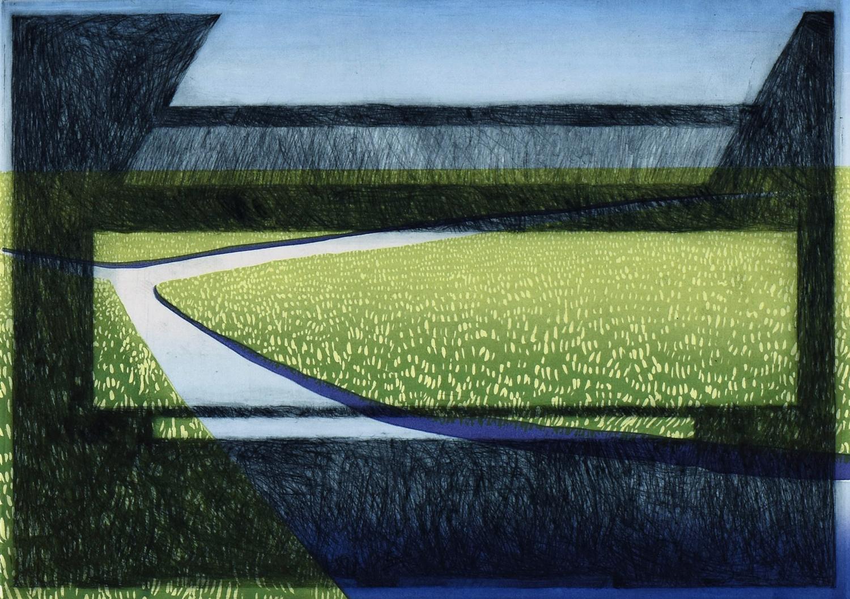 Marken (sky) , 2017, silkscreen and etching, 15 x 19 in.
