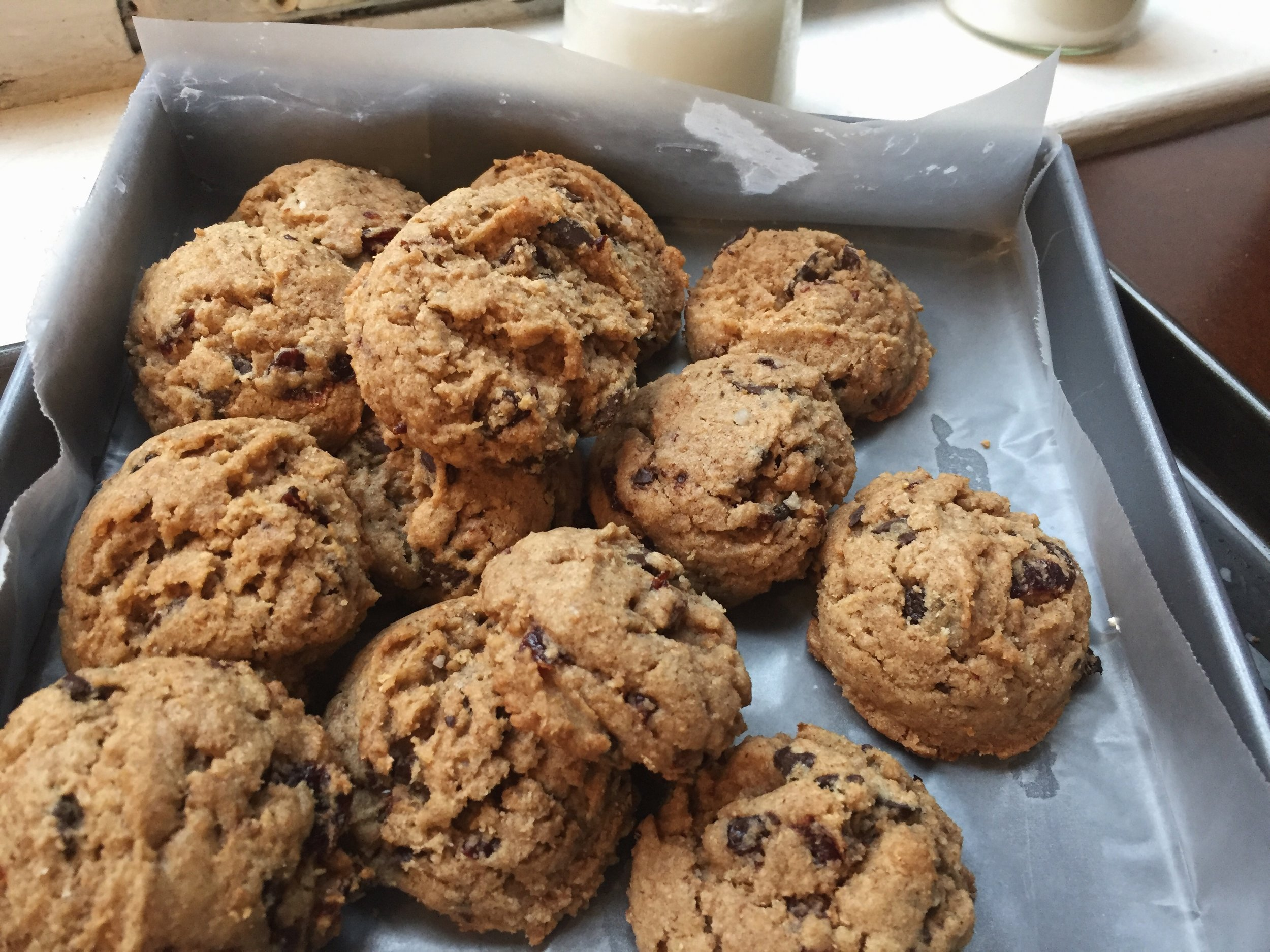 Dark-Chocolate-Chunk-Rye-Sour-Cherry-Cookie-tray