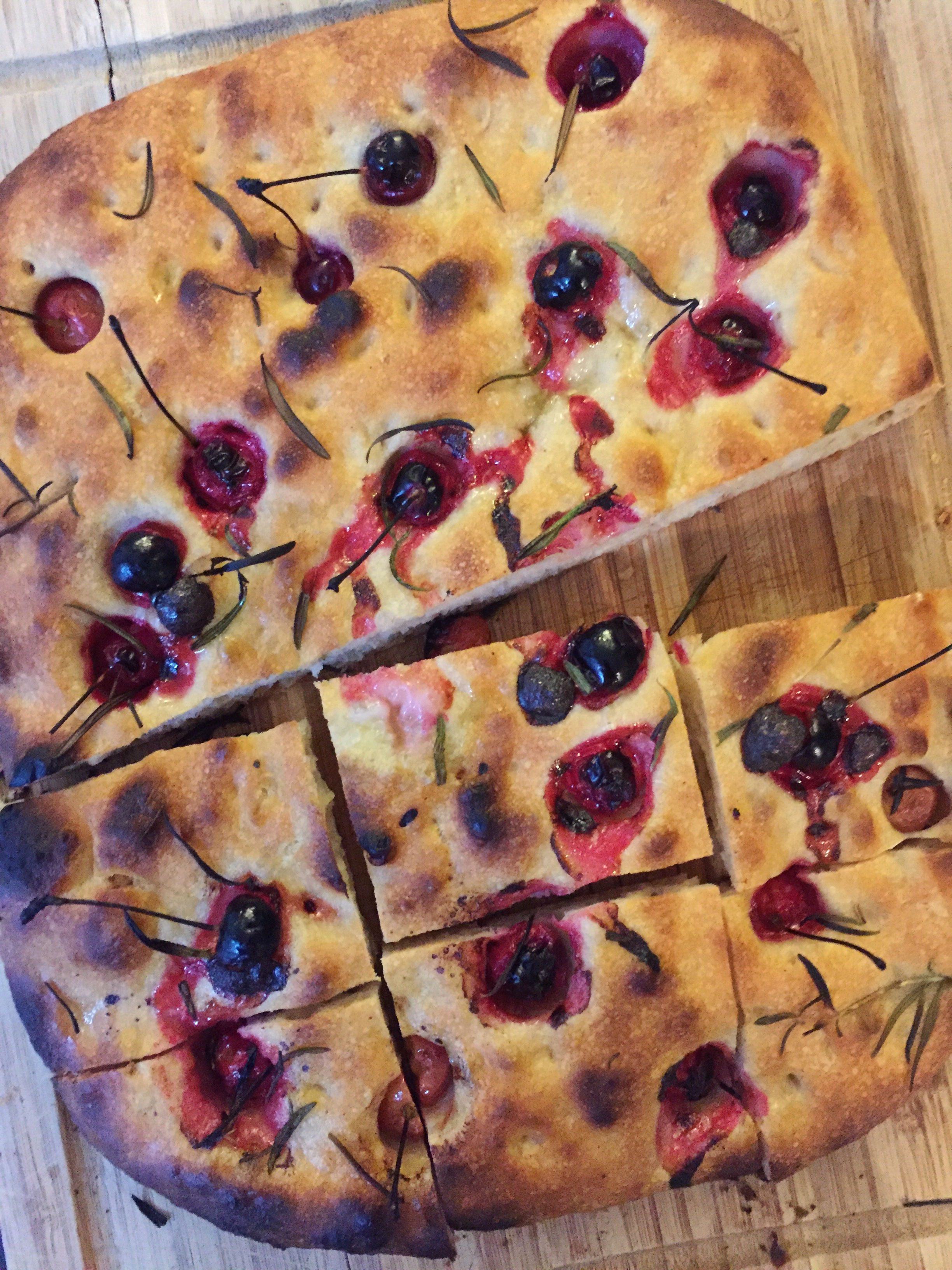 Sour Cherry and Rosemary No-Knead Focaccia