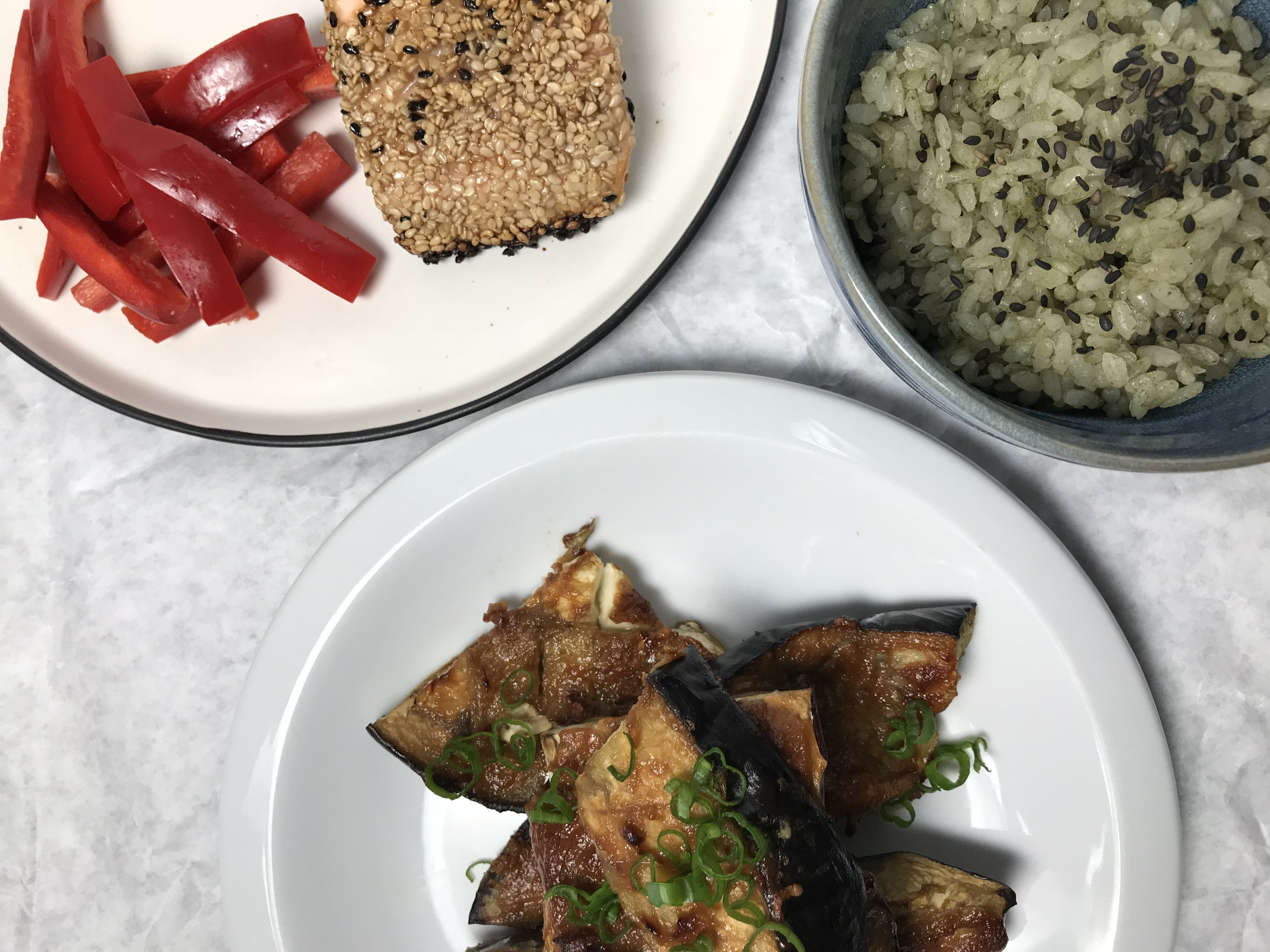 matcha-rice-miso-glazed-eggplant-vegetarian