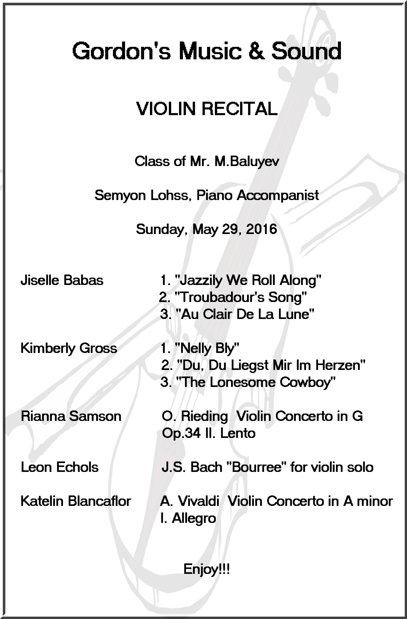 Maxim Baluyev violin students Recital