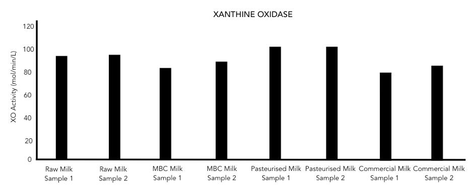 Figure 3: Xanthine Oxidase activity in milk samples.