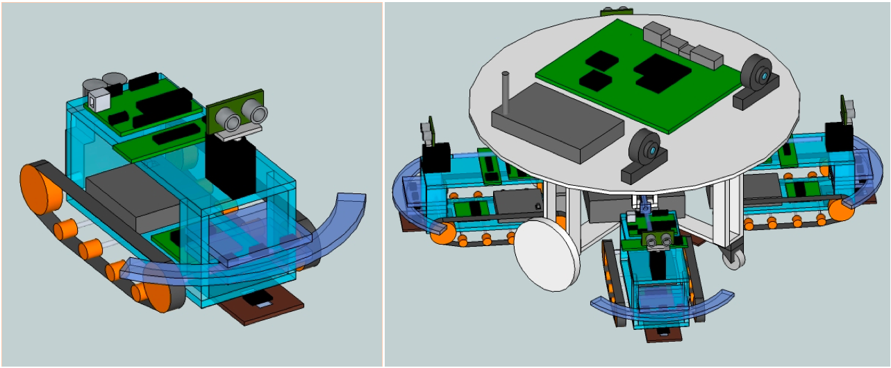 Initial Sketchup models of the two planned robots in the Columbia Swarm.