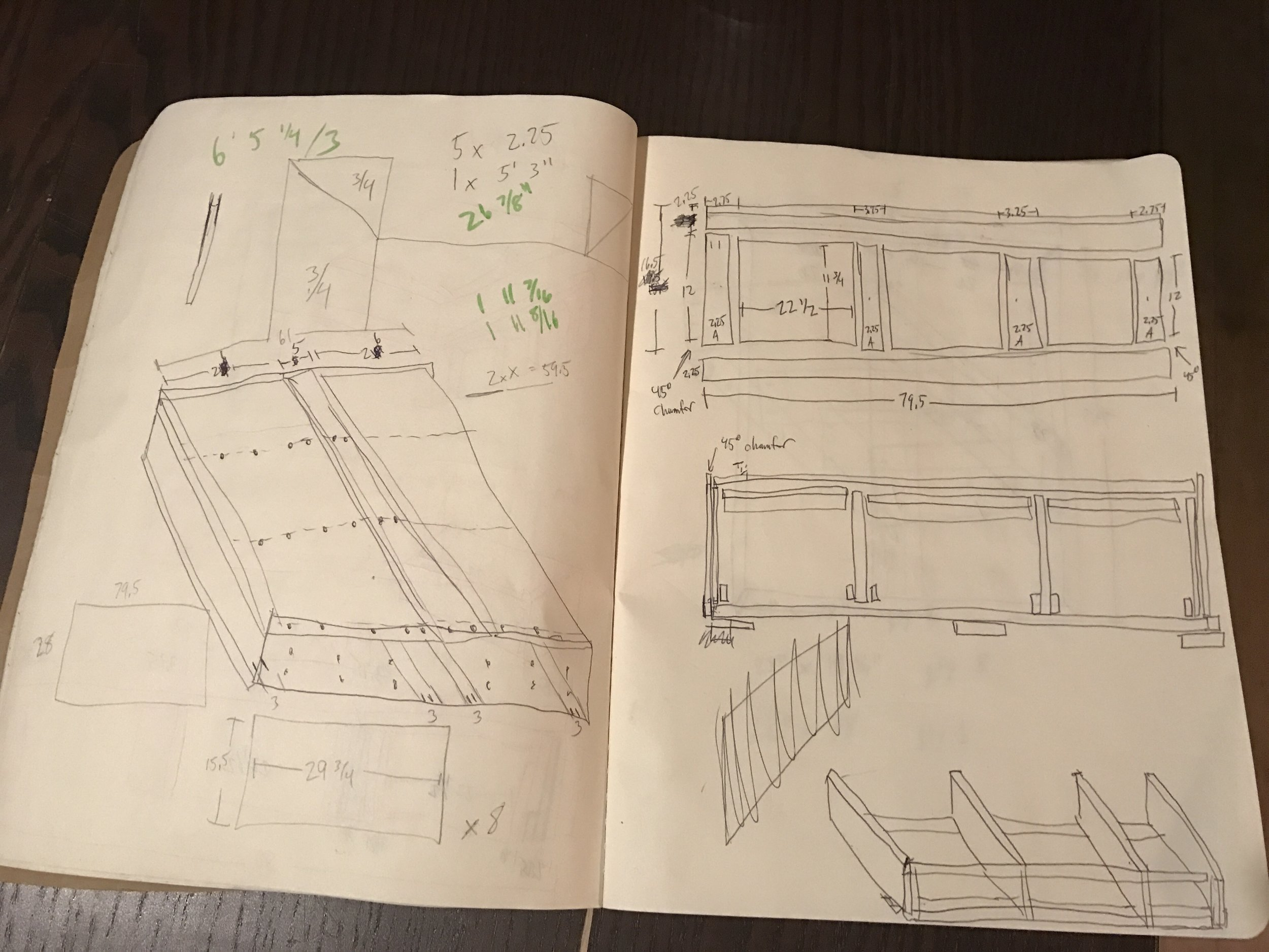 My super detailed sketched plans for my new bedframe.