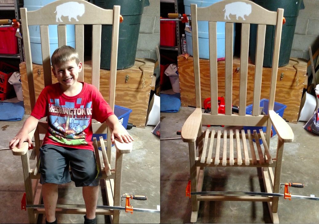 I made this white oak rocking chair as a wedding present for my cousin Alex. My cousins Josh and Ben helped me sand it and were rewarded with ice cream. The white buffalo is the cute nickname that Alex gave to his wife.