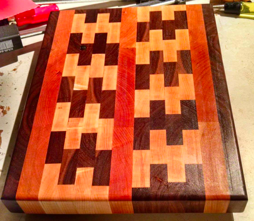 One of the first cutting boards I made as a wedding present for my cousin Dana.