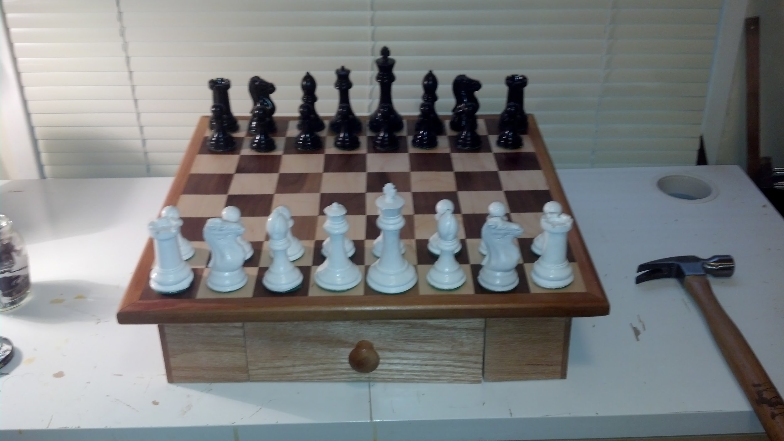 I cast this chess set our of concrete. It took forever and turned out to be quite fragile and not as heavy as I thought it would be.