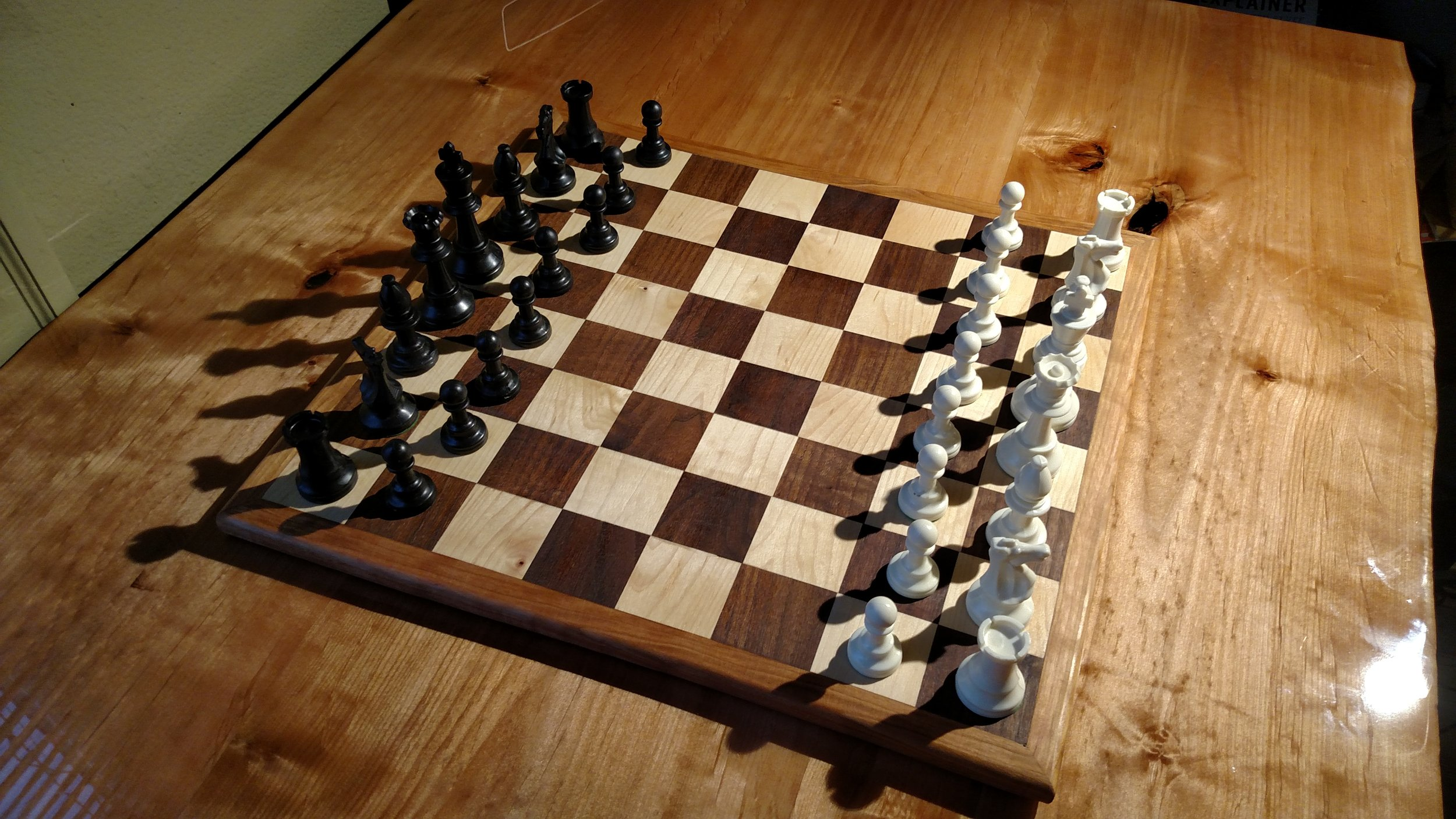I made this chess board as a Christmas present for my sister Carla.
