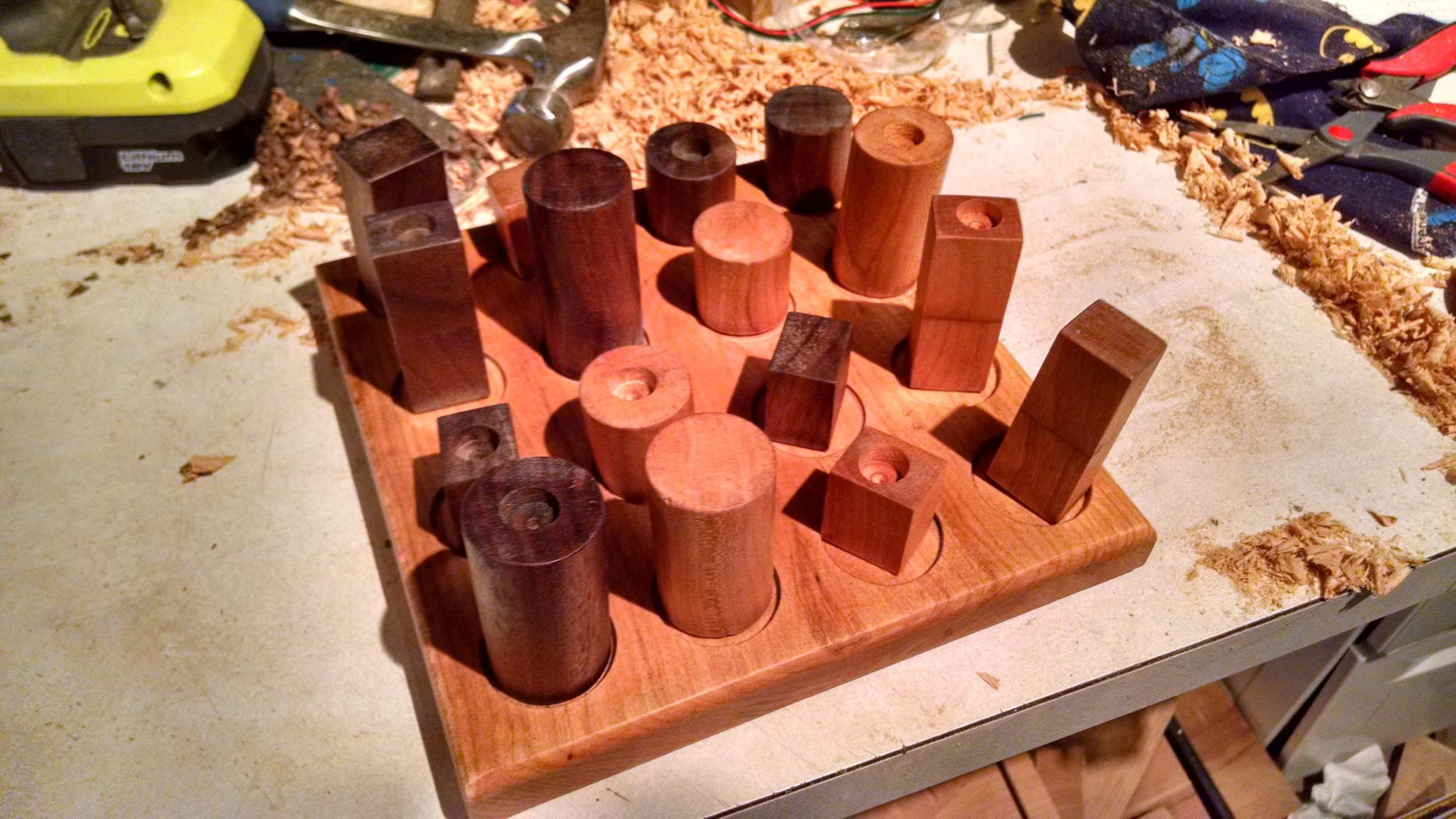 I made this cherry and walnut game called Quarto as a Christmas present for my niece and nephew.