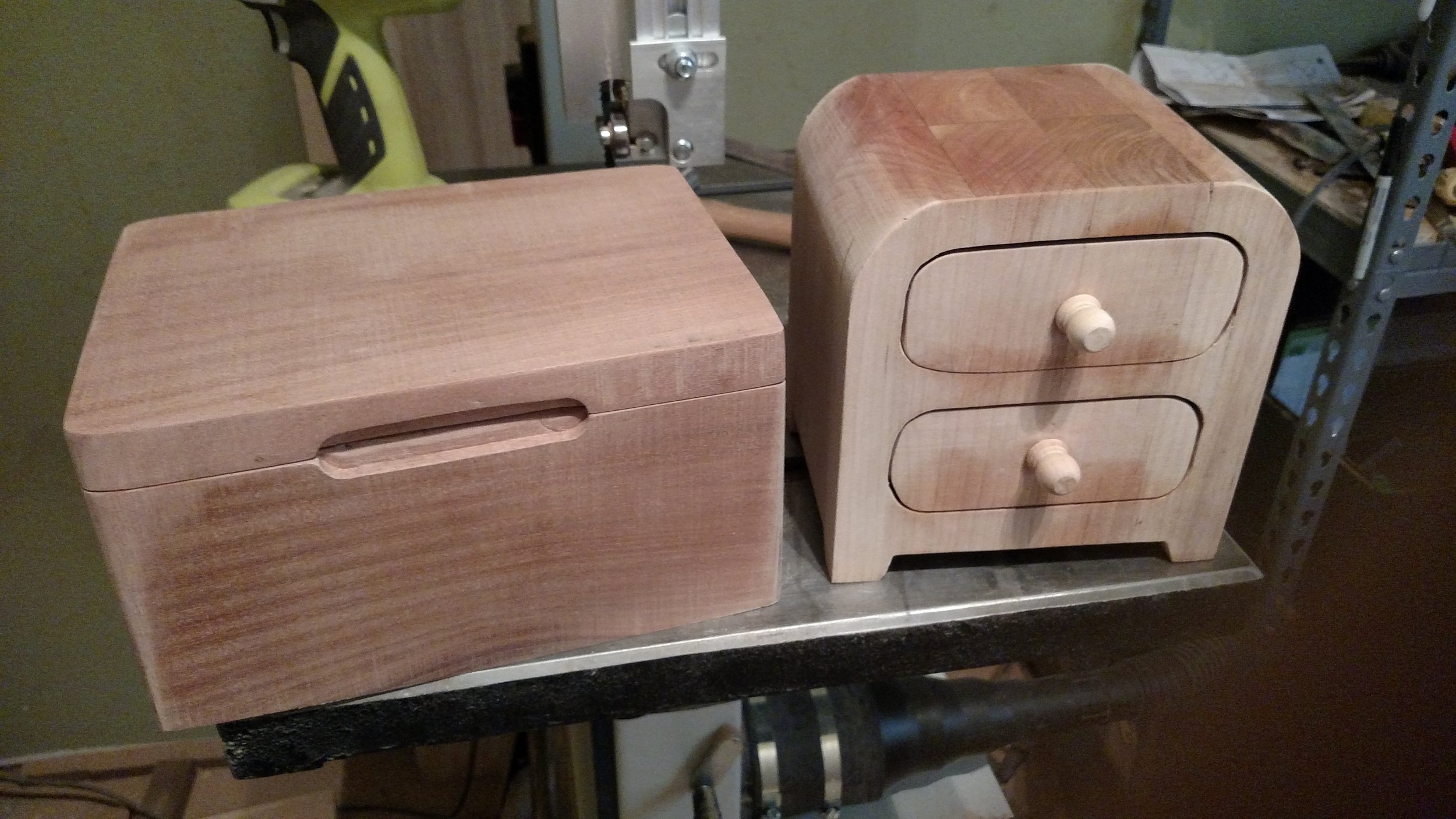 A keepsake box I made for my mom and a jewelry box I made for my sister Carla.