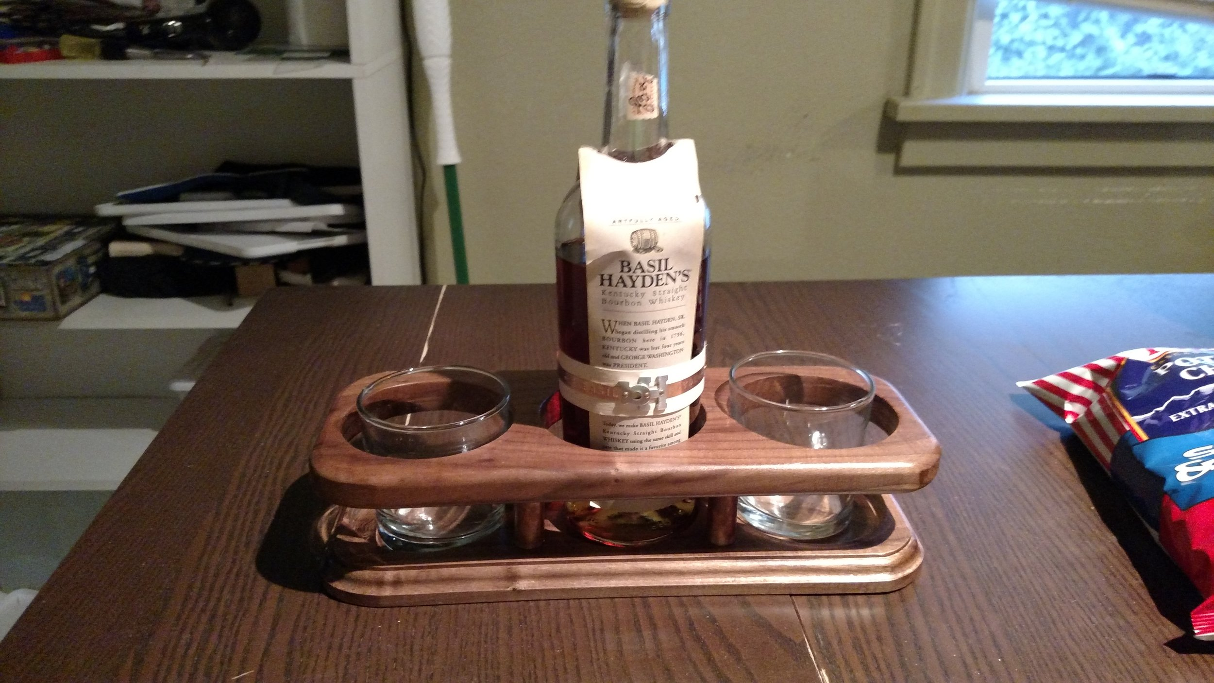 A whiskey holder that I made for my Uncles wedding. I had them try some good bourbon at my cousins wedding and they liked it quite a bit.
