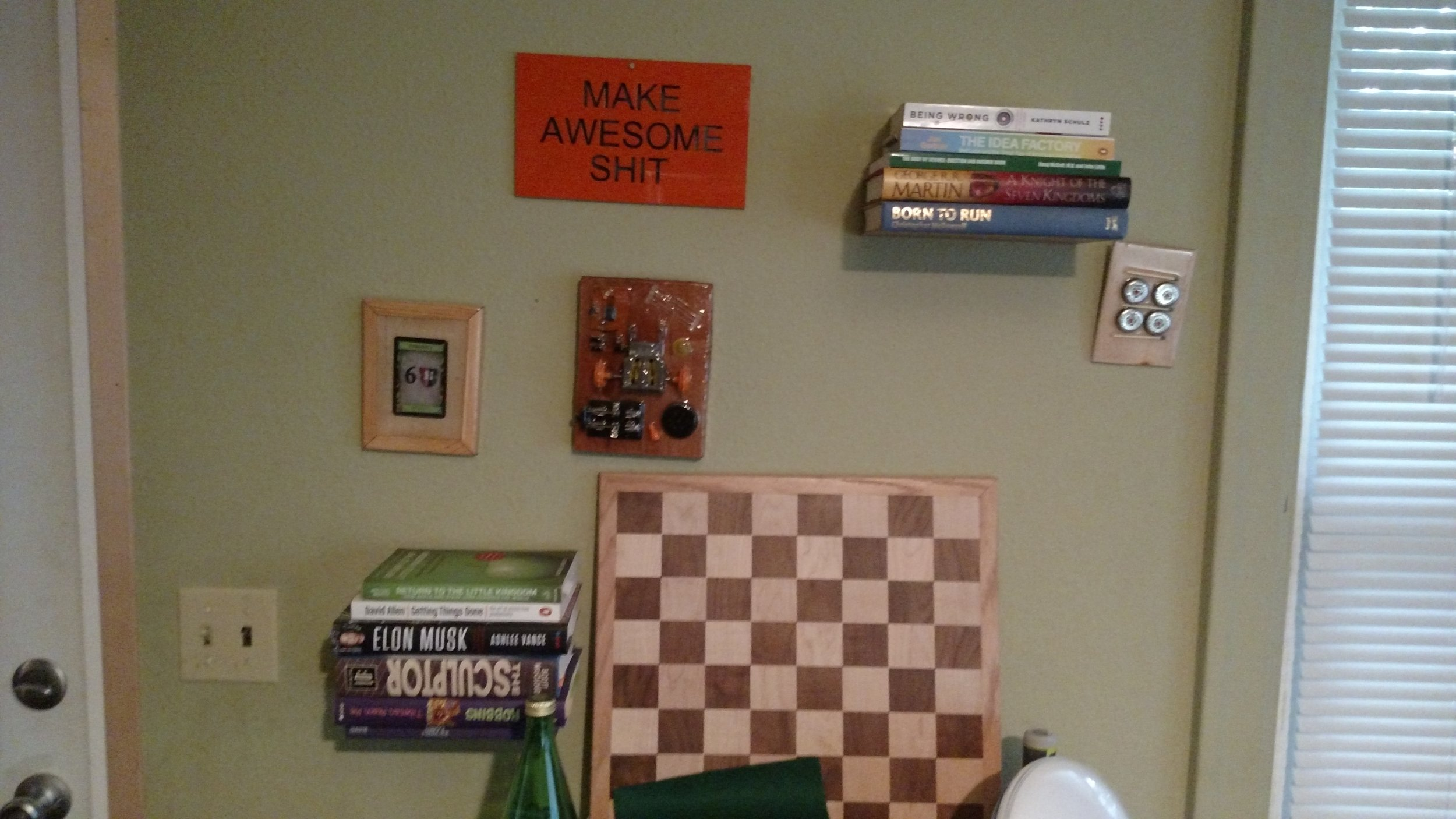 A collection of projects I've made with the floating bookshelves that my sister made me as a Christmas present.