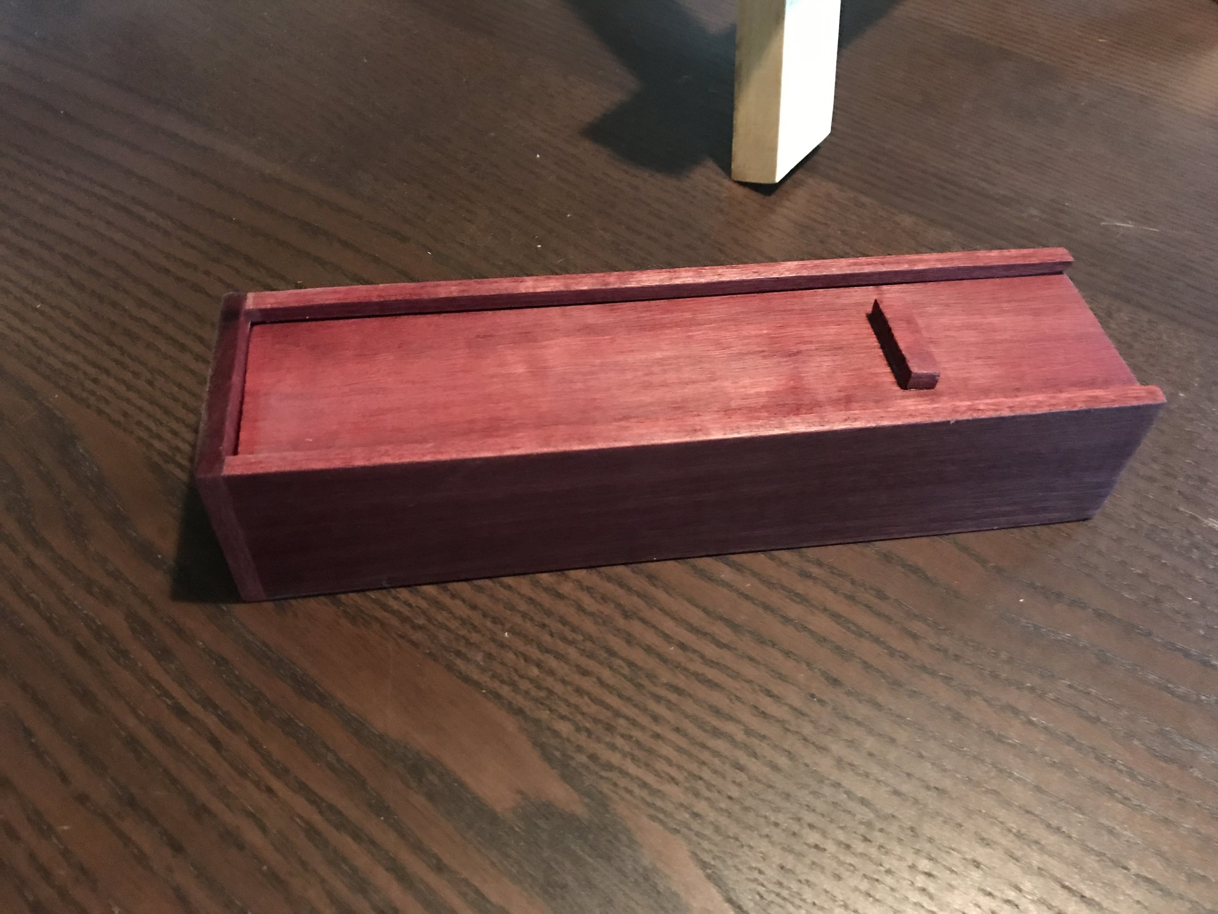 The purpleheart pencil box that I made for my niece.
