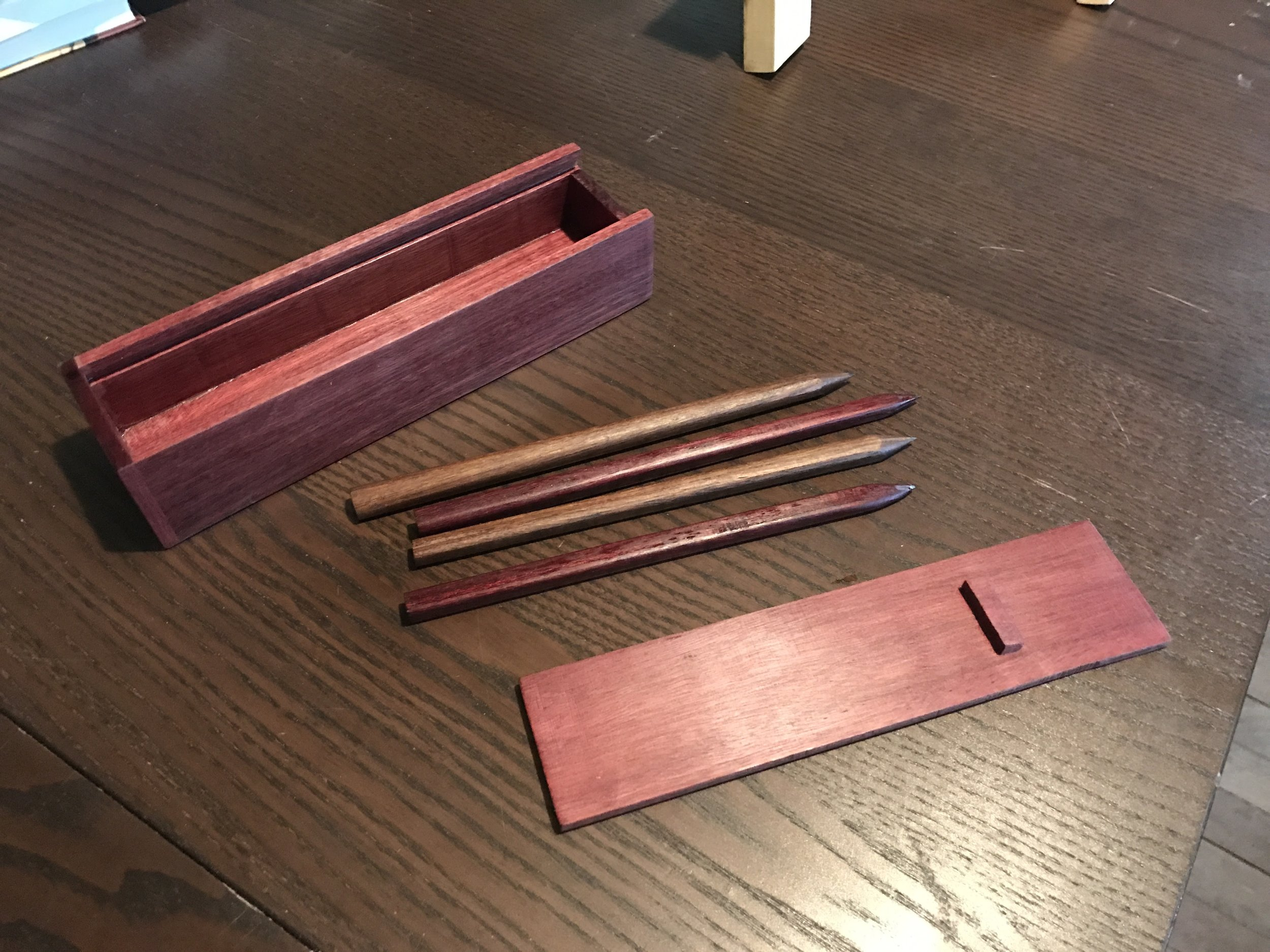 The hardwood pencils I made for my niece and for my girlfriends Christmas presents. They look pretty awesome but are super annoying to sharpen.
