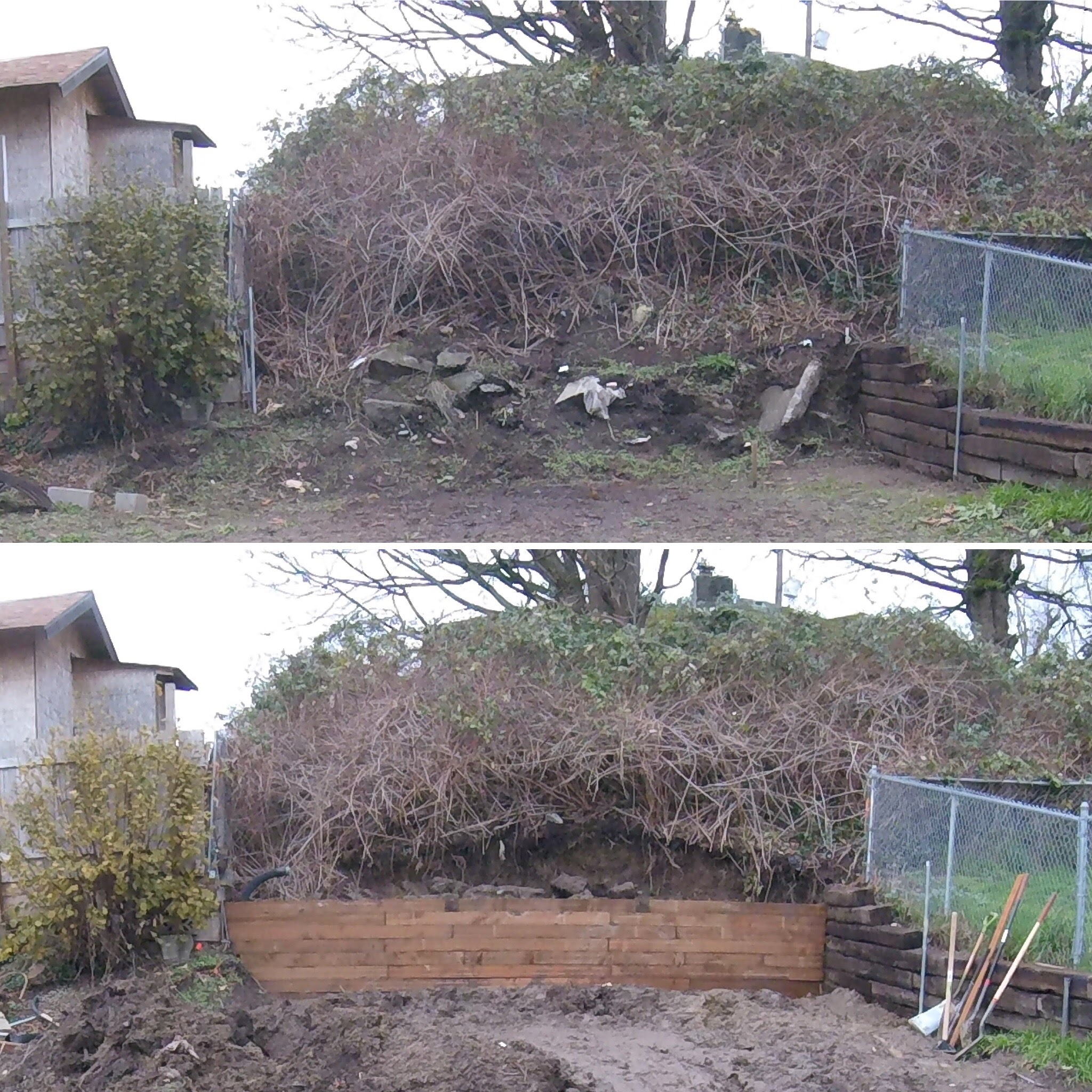 Before and after picture of the back retaining wall. The random hunks of concrete that were buried in my hill were a ton of fun to deal with. We had to rent a jackhammer to break them into more manageable pieces and then use them as backfill behind the wall.